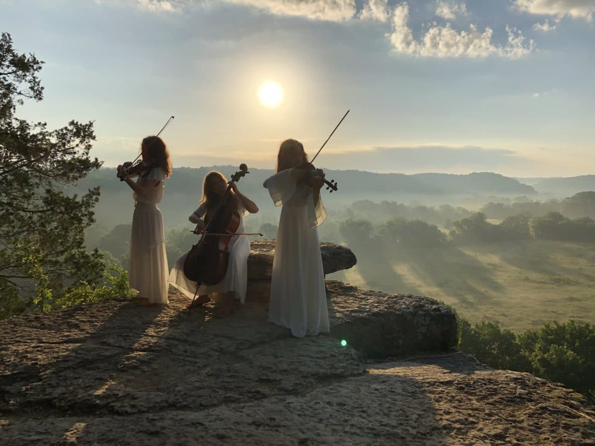String trio on Narrows of the Harpeth hiking trail in TN