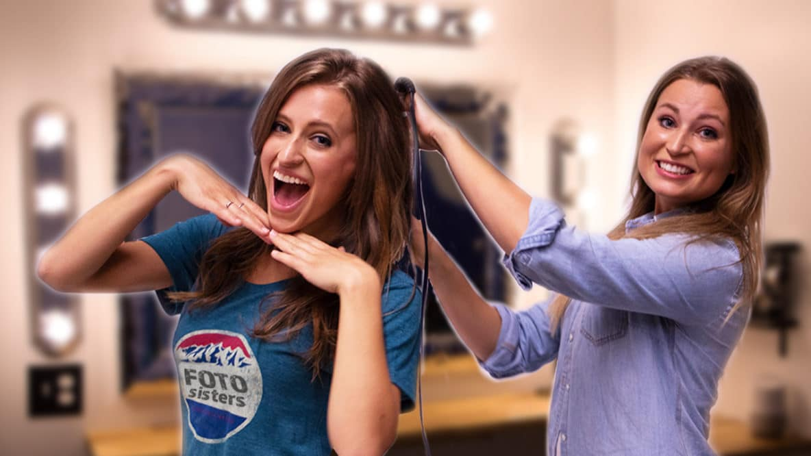Katelyn and Gaylyn fixing their hair before a music video shoot in Nashville