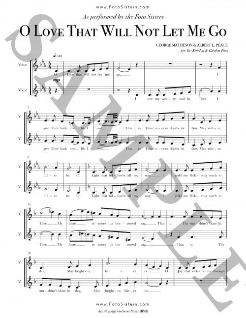 """Page sample of the a cappella sheet music for """"O Love That Will Not Let Me Go"""""""
