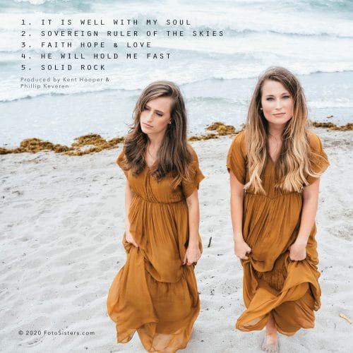 "The back cover of the Foto Sisters EP, ""Faithful"", with the list and order of songs."