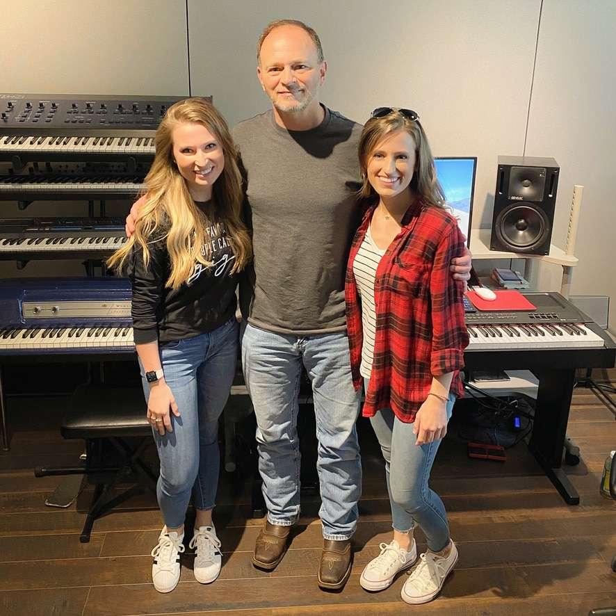 "With Tony Wood in the studio recording ""Faith Hope & Love"""