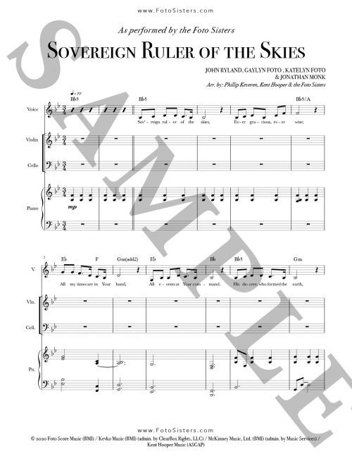 Sample page for Sovereign Ruler of the Skies sheet music