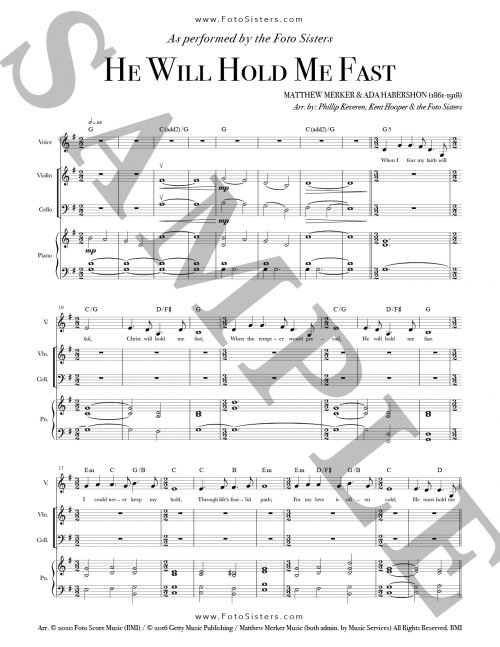 "Sample page for the ""He Will Hold Me Fast"" PDF download sheet music"
